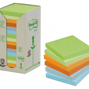 Post-it® Haftnotiz Recycling Pastell Rainbow Notes Tower  16 Block/Pack.