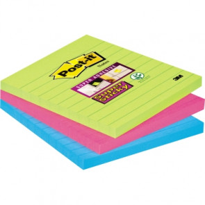 Post-it® Haftnotiz Super Sticky Notes liniert  101 x 101 mm (B x H) 3 Block/Pack.